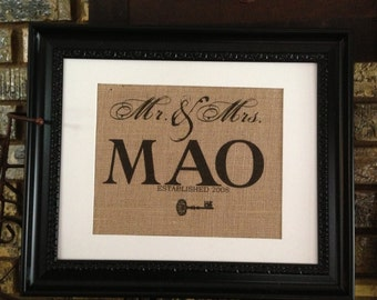 Mr & Mrs. Established since year of wedding and personalized with your family name  sign on real burlap