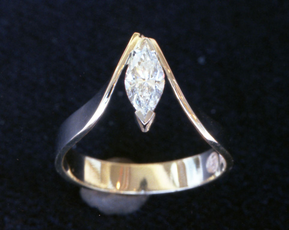 Unique Sweeping Hand Made Marquise Cut Diamond Recycled 18k