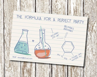 Science Chemistry Birthday Invitation - Printable and Personalised