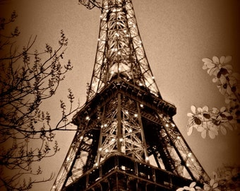 "Eiffel Tower Sepia Paris, France 8""x10"""