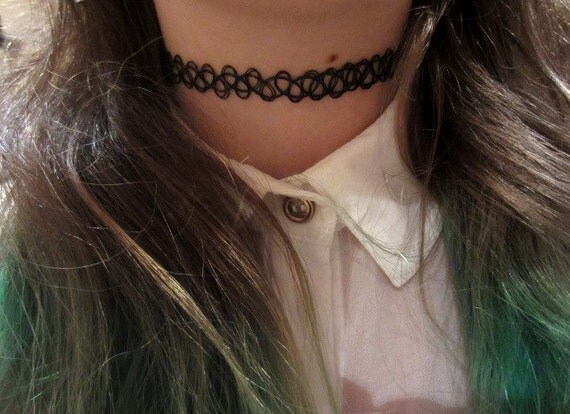 BLACK IS BACK Vintage 90's Tattoo Choker Stretch by ...