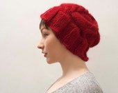 Red Slouchy Beanie in Baby Alpaca - Made to Order