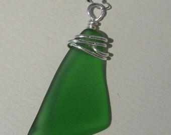 emerald sea glass pendant