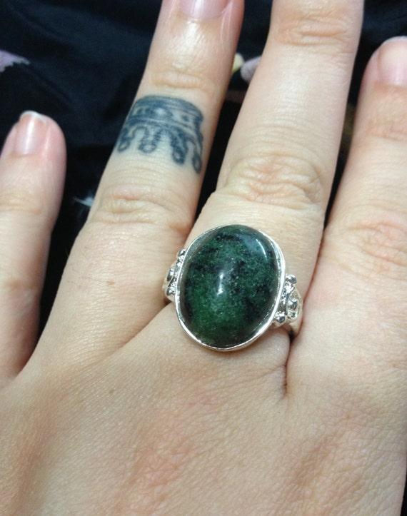 Vintage Natural Unpolished Ruby Zoisite Gemstone Antiqued Ring Size 8Unpolished Ruby
