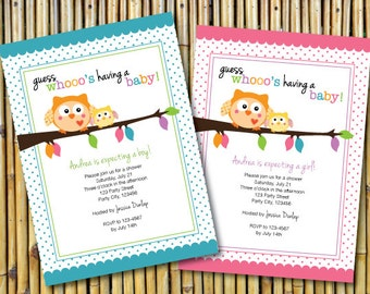 happi owl baby shower invitation, digital, printable file