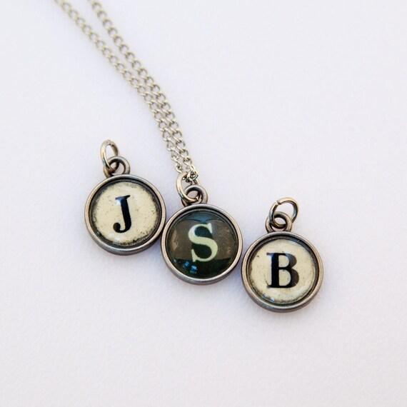 vintage typewriter key pendant necklace personalized