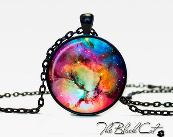 Trifid Nebula pendant  Nebula  jewelry Galaxy necklace Trifid Nebula  universe pendant for men