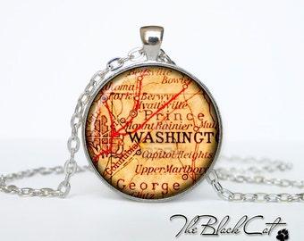 Vintage map of Washington pendant Old map of Washington necklace Antique map of Washington jewelry (PVM00004)
