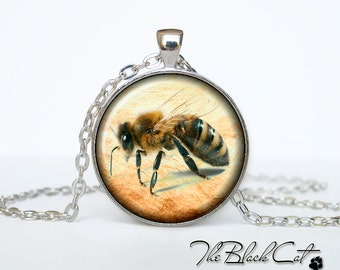 Bee and honey pendant Bee and honey necklace Bee and honey jewelry (PBH0002)