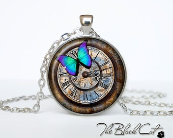 Steampunk clock pendant Steampunk watch necklace Steampunk clock jewelry