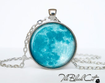 Moon pendant Moon necklace Moon jewelry blue moon (PM0003)