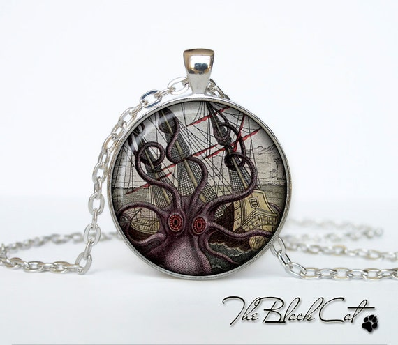 Steampunk Sea Monster octopus pendant Steampunk Sea Monster necklace (PS0017)