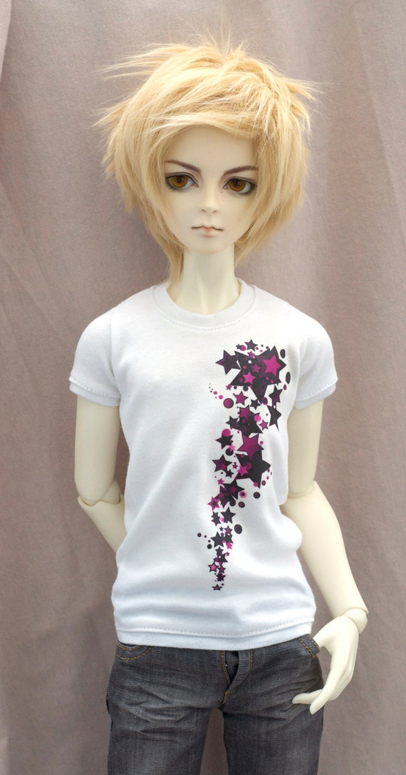STARS Pink/Black Skater Emo White t-shirt BJD by SoraBJDFashion