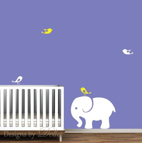 Elephant nursery wall mural jungle animals includes elephant for Elephant mural nursery