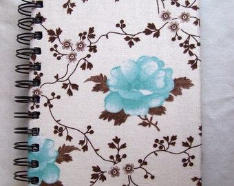 Blue Flower Fabric-Covered Notebook