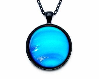 Neptune Pendant Neptune Necklace Neptune Jewelry  galaxy universe space planet