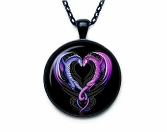 Dragon hearts pendant Dragon necklace Dragon jewelry Valentines day jewelry Valentines day pendant Valentines day gift
