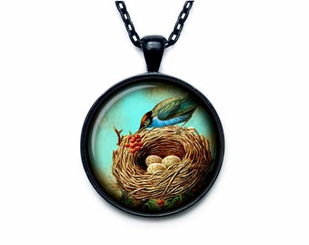 Bird nest pendant Bird nest necklace Bird nest jewelry nature necklace (PBN00006)