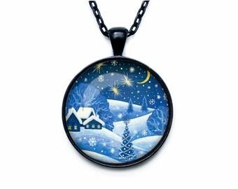 Christmas Necklace, Christmas Jewelry, Russian Christmas Art Pendant