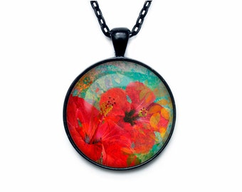 Hibiscus pendant Hibiscus necklace Hibiscus jewelry flower necklace