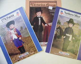 3 Crochet Doll Patterns American Patriot Soldier Civil War Officer Groom