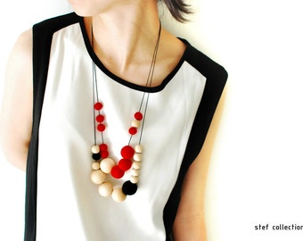 Felt Ball Necklace. Red Necklace. Wooden Bead Necklace. Black Necklace.Large bead Necklace.Wool Necklace.Quirky. Bold. Adjustable Necklace.