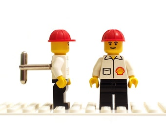 Shell petrochemical worker cufflinks. Cufflinks made with LEGO(R) bricks.    Cuff links Wedding gift
