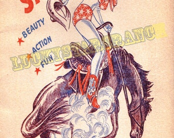 Cowgirl Poster Santa Rosa Round Up Texas Vintage Rodeo Print 18x24