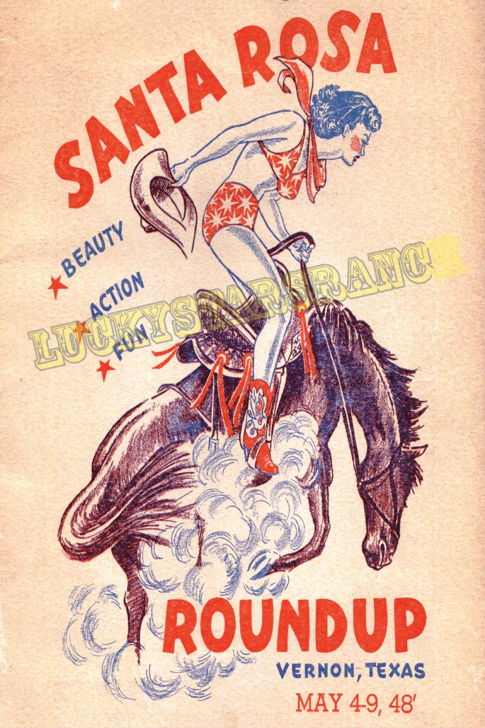 Cowgirl Poster Santa Rosa Round Up Texas Vintage Rodeo Print
