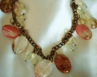 Tiger, Cherry and Pineapple Quartz Necklace