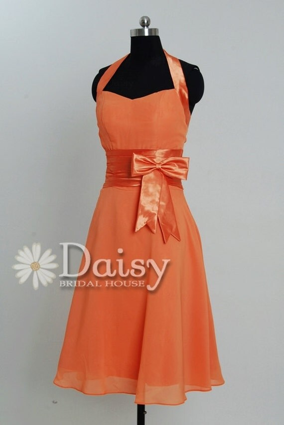 Pink Orange Short Bridesmaid Dress,Halter Orange Chiffon Bridesmaid Dress,Bridal Party Dress,Custom Short  Halter Dress in Formal(BM0567308)