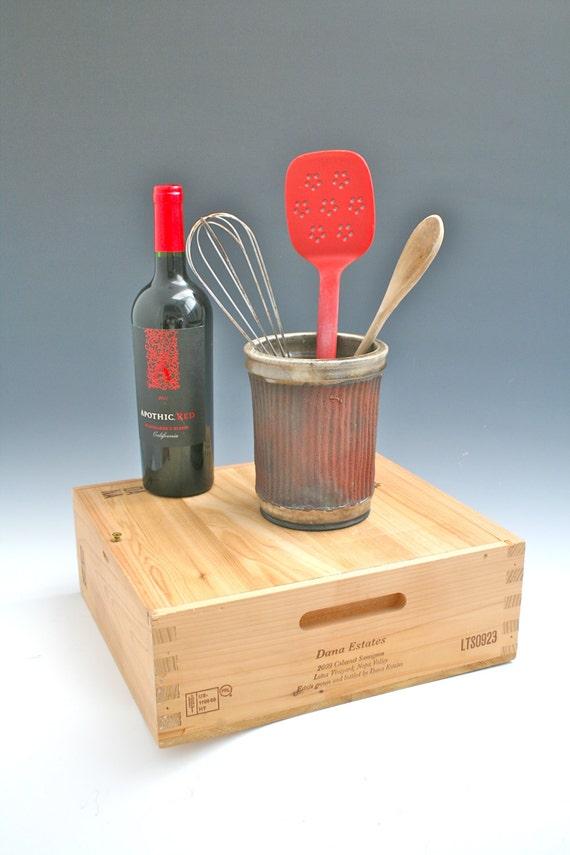 Raku utensil holder raku vase kitchen utensil holder red - Unique kitchen utensil holder ...