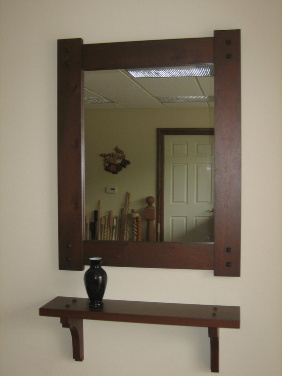 Mission style hall mirror shelf in mahogany wood with dark for Hallway mirror and shelf