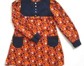 French vintage 70's / for kids / dress / hand sewn / flower fabric / size 7 Y
