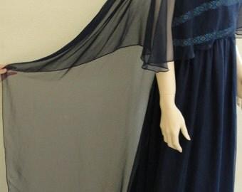 Vintage 1970's VICTOR COSTA  Gown Designer Dress Size 11  Maxi Skirt MEDIUM