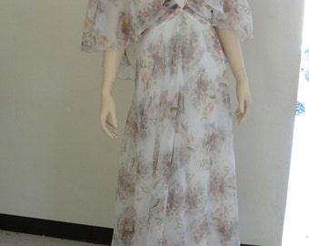 Vintage 1970s earthtone floral caplet sheer maxi dress made by Jeri Modes SMALL