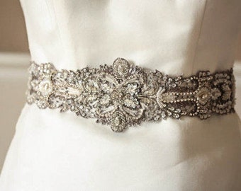 Bridal Sash in Antique Silver - 29 inches (Made to Order)