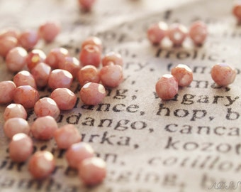 50 Pink Picasso 3mm Faceted Round Czech Glass Beads (N106)