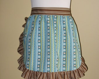 Blue & brown striped half apron