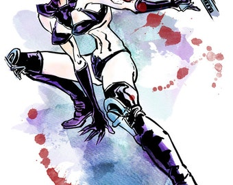 Aeon Flux - Watercolor Print