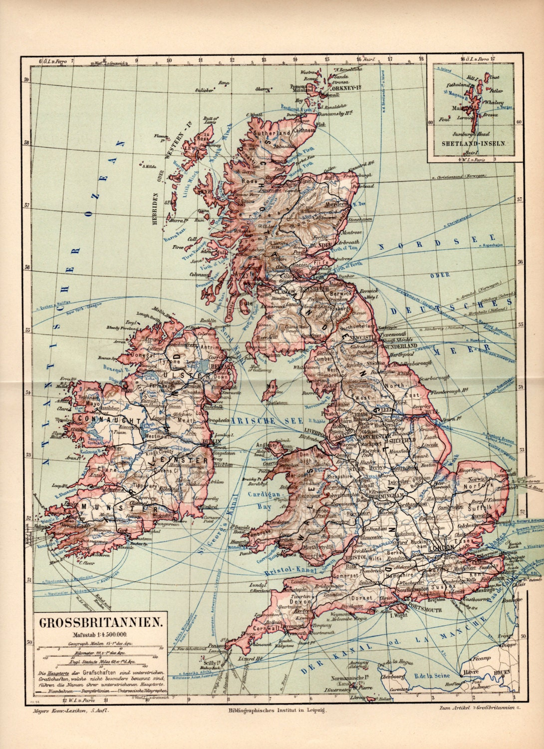1894 Great Britain Antique Map England Wales Scotland