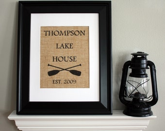 Personalized Lake House Burlap Print, Housewarming Gift with Family Name and Year Established