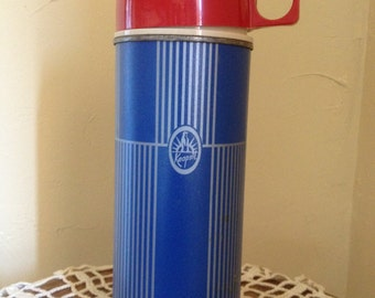 Vintage Keapsit Thermos Pint Size Blue with Red Cap-Great Condition