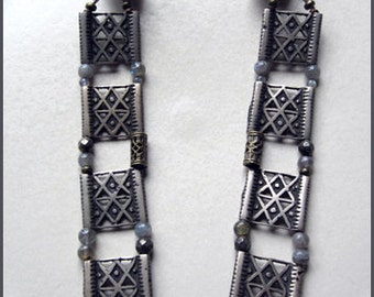 Tribal Silver Choker with Labradorite