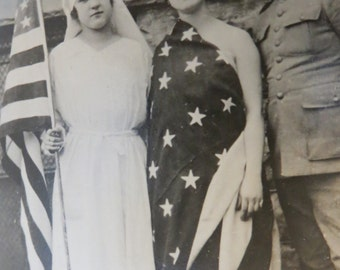 Original 1910's World War I Family Shows Their Patriotism Real Photo Postcard - Free Shipping