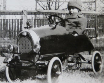 Vintage 1920's Little Boy In His New Pedal Car Snapshot Photograph - Free Shipping