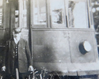 Vintage 1910's Trolley Conductor with His Trolley Snapshot Photo - Free Shipping