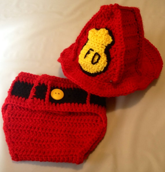 Crochet Patterns For Baby Frocks : Items similar to Crochet Baby Fireman Outfit with Helmet ...