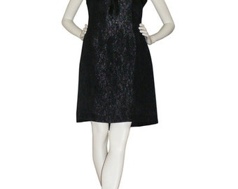 60s dress, 1960s dress, black Brocade, black vintage dress