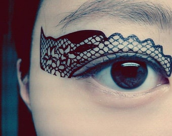 Temporary Tattoo Eye Makeup Eyeshadow Black Flower lace Masquerade mask Christmas stocking stuffer accessories gift new year color guard